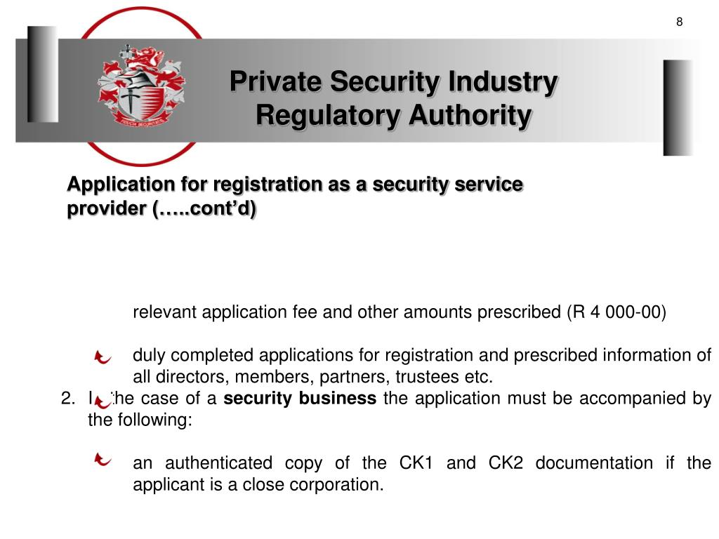 PPT - REGISTRATION OF SECURITY SERVICE PROVIDERS WTH THE