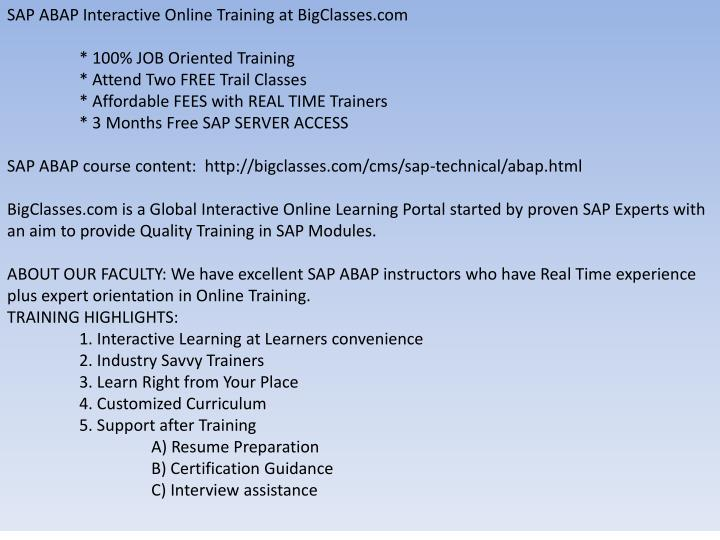 SAP ABAP Interactive Online Training at BigClasses.com