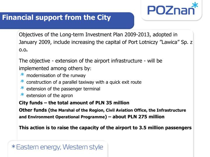 Financial support from the City
