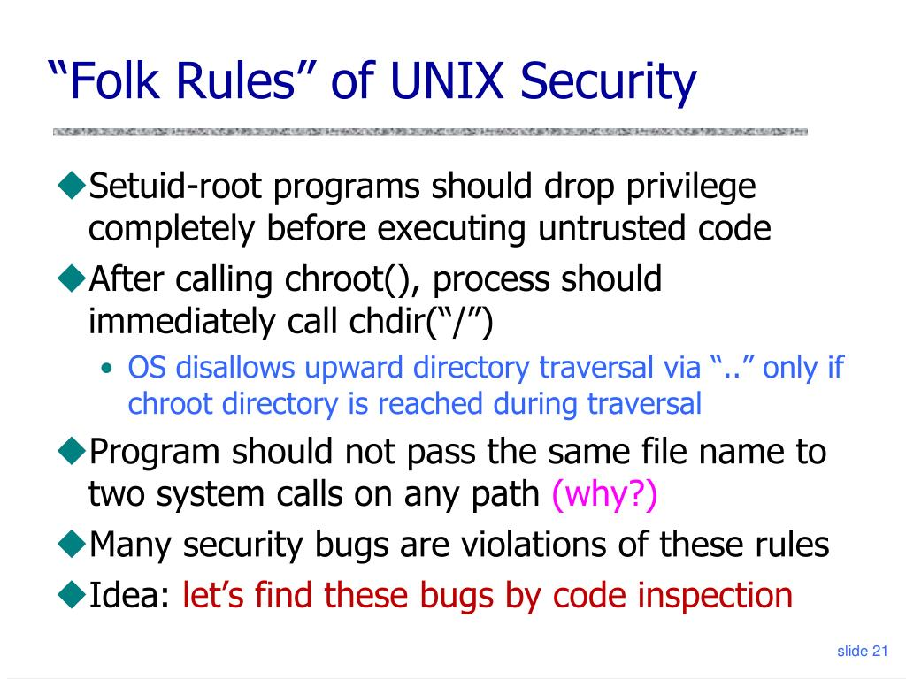 PPT - UNIX Security: setuid and chroot Static Security Analysis with