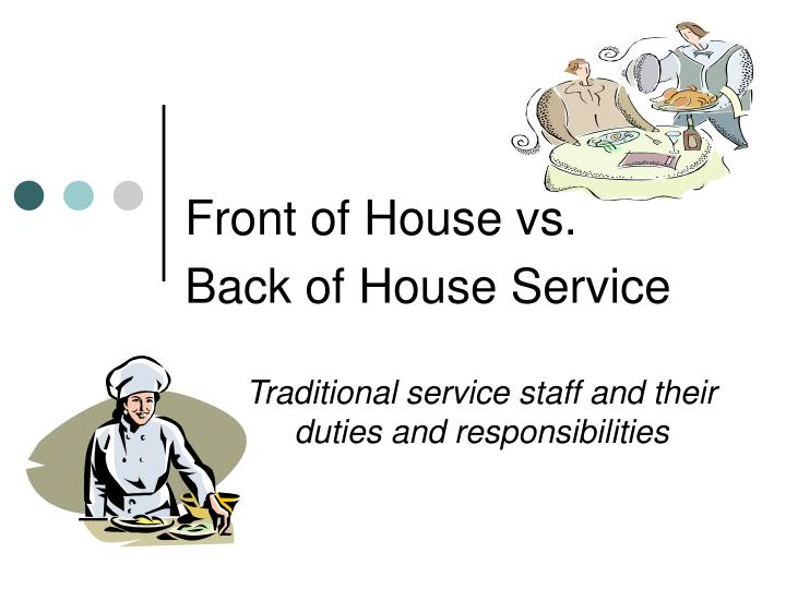front of house vs back of house service n.