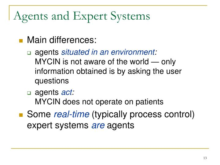 Agents and Expert Systems