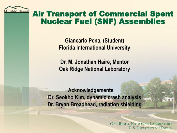 air transport of commercial spent nuclear fuel snf assemblies n.