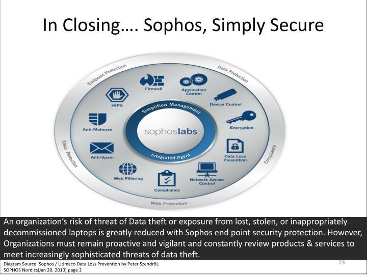 In Closing…. Sophos, Simply Secure