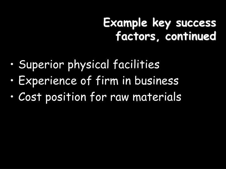 Example key success factors, continued