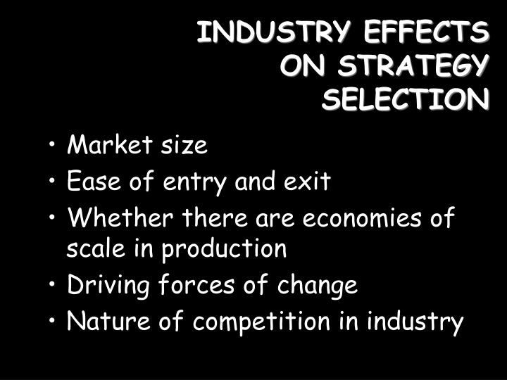 INDUSTRY EFFECTS ON STRATEGY SELECTION