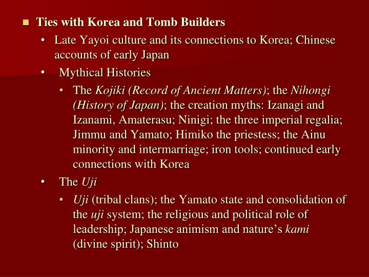 Ties with Korea and Tomb Builders