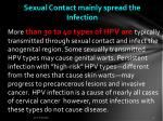 sexual contact mainly spread the infection