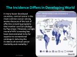 the incidence differs in developing world