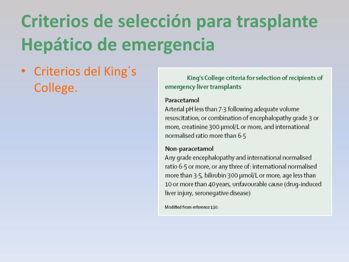 Criterios de selección para trasplante Hepático de emergencia