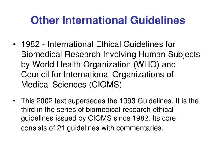 Other International Guidelines