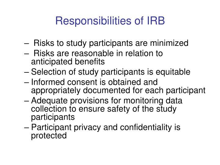 Responsibilities of IRB