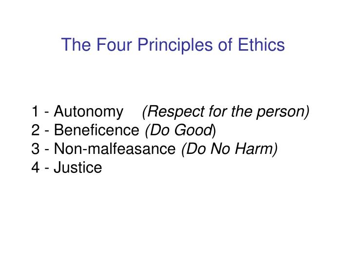 The Four Principles of Ethics