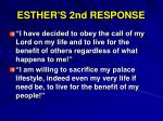 esther s 2nd response
