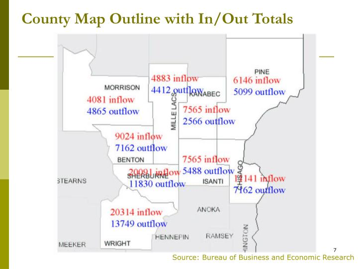 County Map Outline with In/Out Totals
