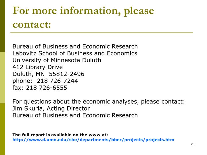 For more information, please contact: