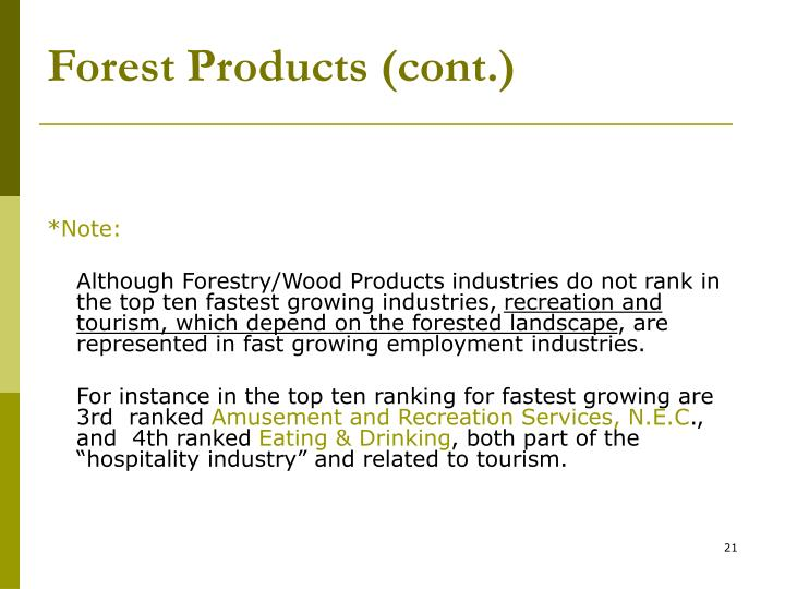 Forest Products (cont.)