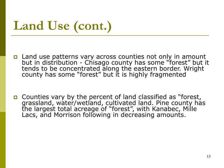 Land Use (cont.)