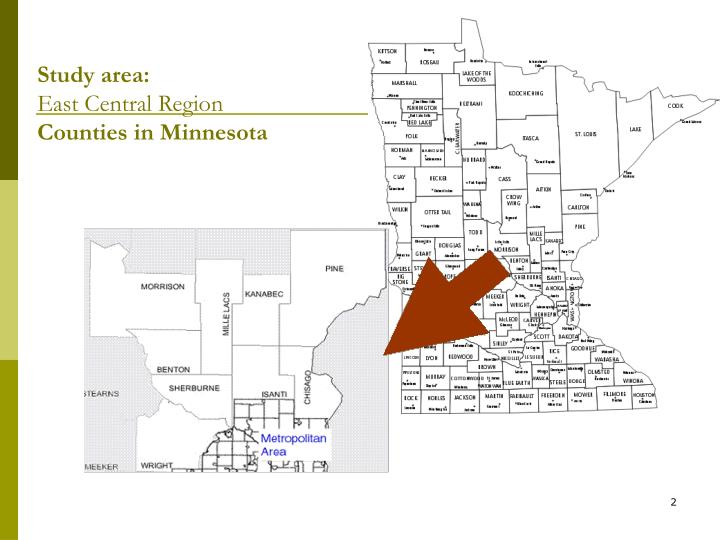 Study area east central region counties in minnesota