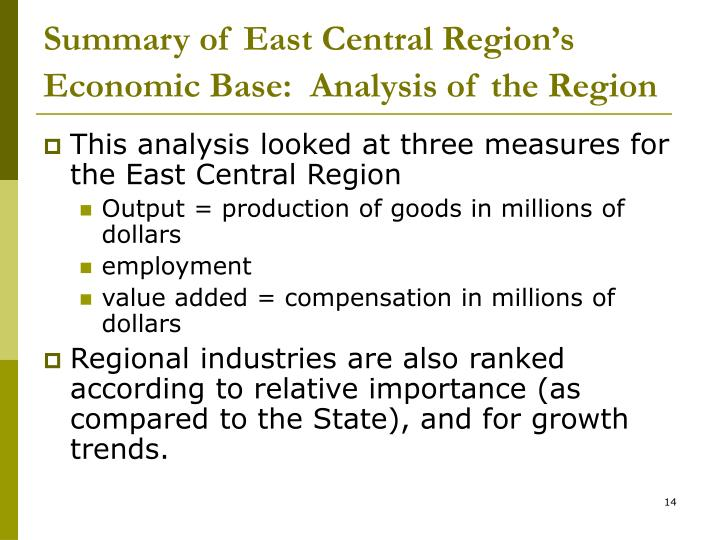 Summary of East Central Region's Economic Base:  Analysis of the Region