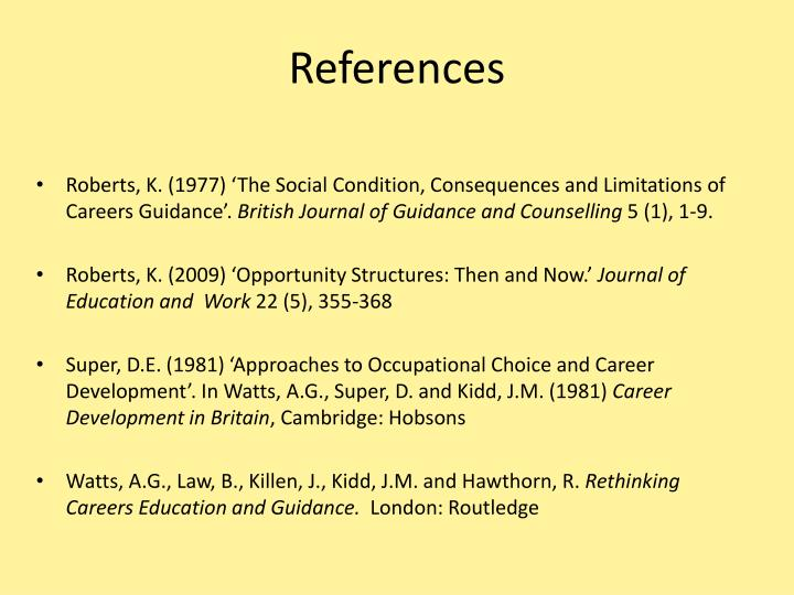 guidance and counselling references