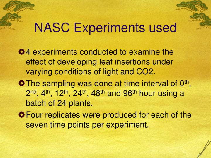 NASC Experiments used