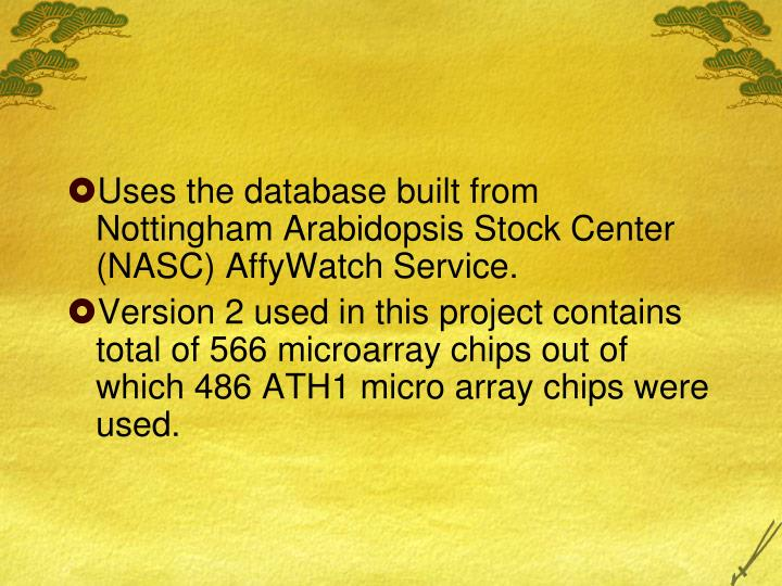 Uses the database built from Nottingham Arabidopsis Stock Center (NASC) AffyWatch Service.