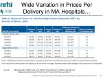 wide variation in prices per delivery in ma hospitals