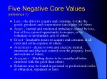 five negative core values reference 1