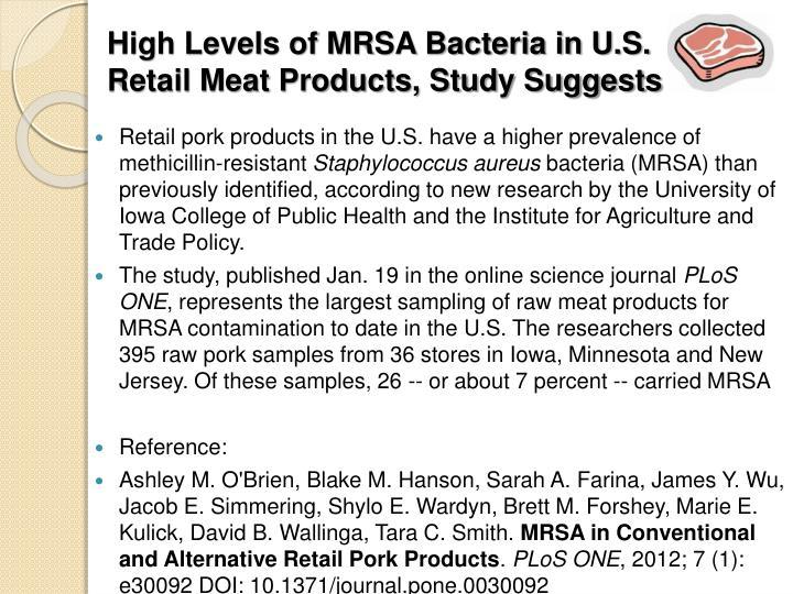 High Levels of MRSA Bacteria in U.S.