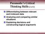 paramedic s critical thinking skills 2 of 2
