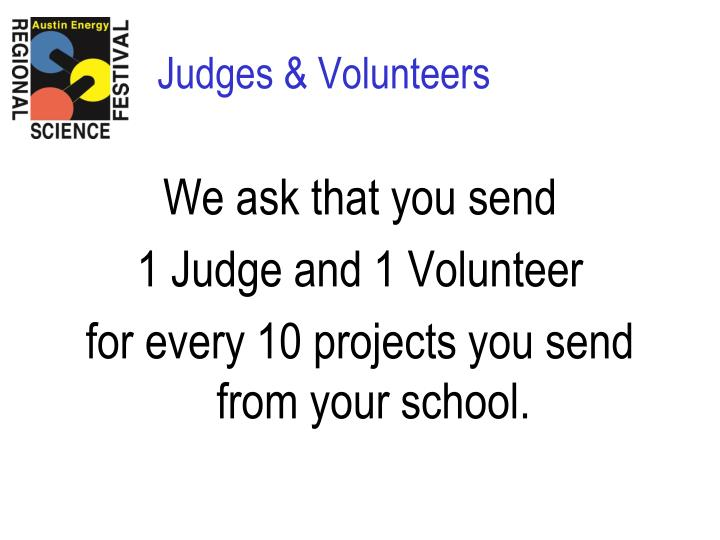 Judges volunteers