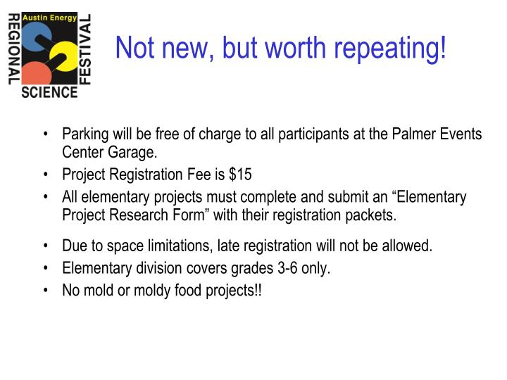 Parking will be free of charge to all participants at the Palmer Events Center Garage.