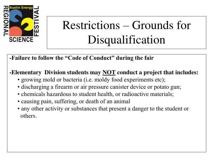 "-Failure to follow the ""Code of Conduct"" during the fair"
