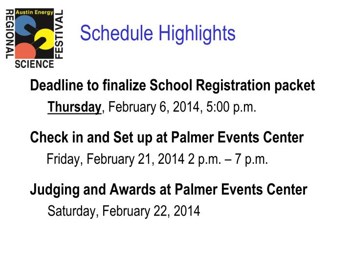 Deadline to finalize School Registration packet