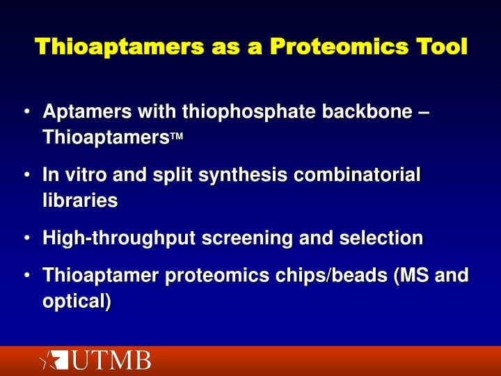 Thioaptamers as a Proteomics Tool