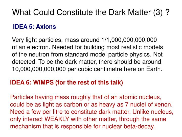 What Could Constitute the Dark Matter (3) ?