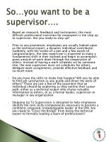 so you want to be a supervisor