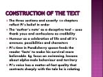 construction of the text