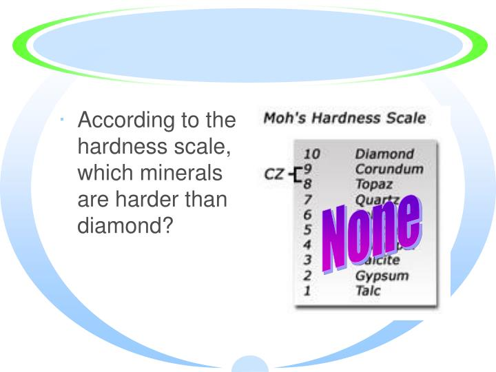 According to the hardness scale, which minerals are harder than diamond?