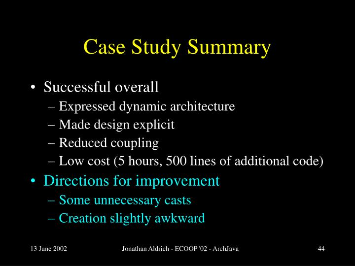 Case Study Summary