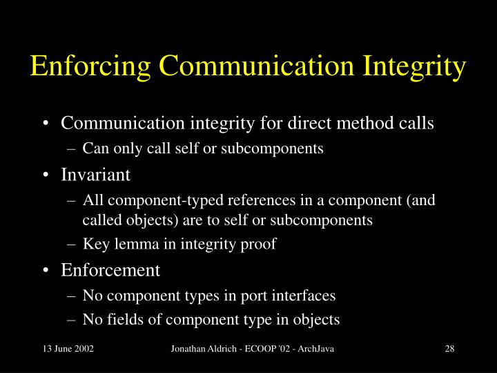 Enforcing Communication Integrity