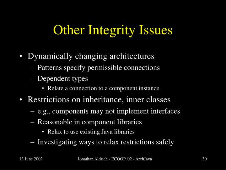 Other Integrity Issues
