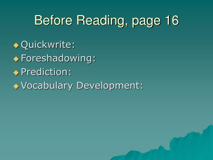 Before reading page 16