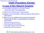 claim procedure contd