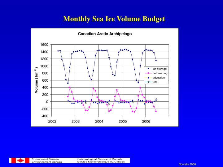 Monthly Sea Ice Volume Budget