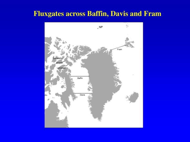Fluxgates across Baffin, Davis and Fram