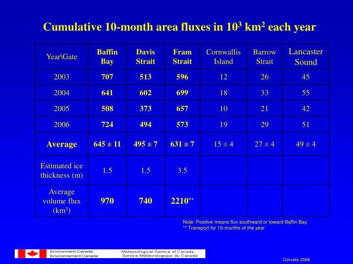 Cumulative 10-month area fluxes in 10