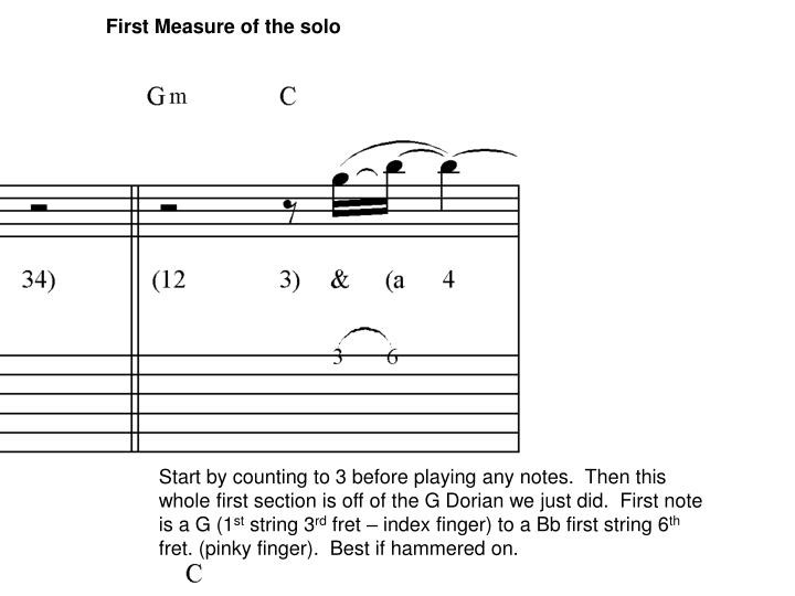 First Measure of the solo
