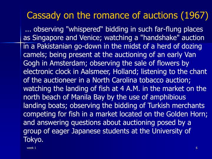 Cassady on the romance of auctions (1967)